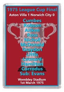 Norwich City Aston Villa 1975 Final Poster of Programme Verzamelingen Overig